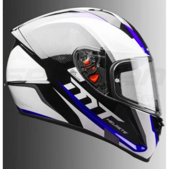 MT Stinger Spike Gloss Black White Blue Full Face Helmet 1