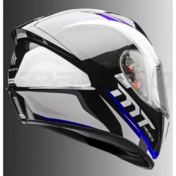 MT Stinger Spike Gloss Black White Blue Full Face Helmet 2