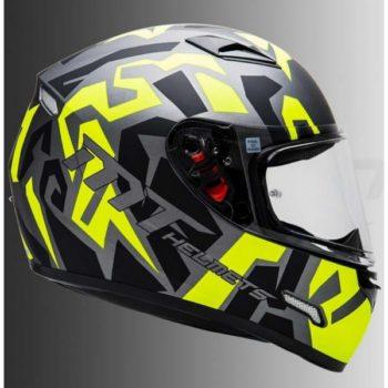 Mt Mugello Leopard Matt Black Yellow Full Face Helmet 1