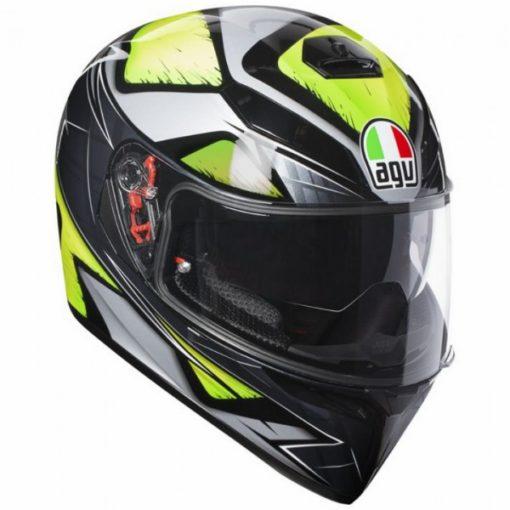 AGV K 3 SV Liquefy Matt Black Silver Neon Green Full Face Helmet