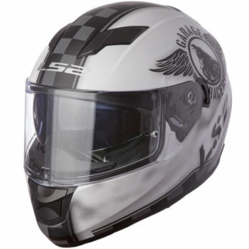 LS2 FF 320 Garage Matt White Black Full Face Helmet