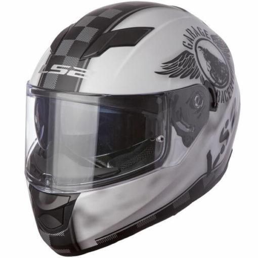 LS2 FF 320 Garage Matt White Black Full Face Helmet