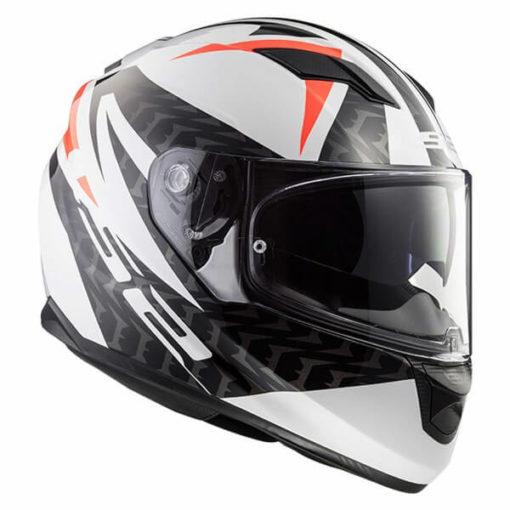 LS2 FF328 Stream Evo Commander Matt White Black Red Full Face Helmet 2