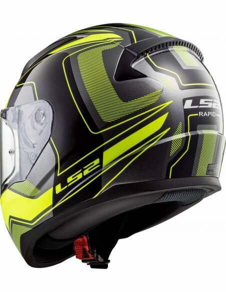 LS2 FF353 Rapid Carrera Matt Black H V Yellow Full Face Helmet 4