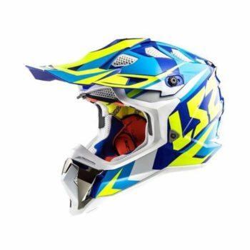LS2 MX470 Subverter Nimble Matt White Blue H V Yellow Full Face Helmet