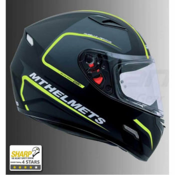 MT Mugello Jerome Matt Black Fluorescent Yellow Full Face Helmet 1