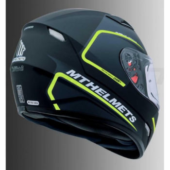 MT Mugello Jerome Matt Black Fluorescent Yellow Full Face Helmet 2
