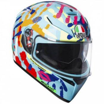 Agv K 3 Sv Gloss Blue Pink Yellow Misano Full Face Helmet
