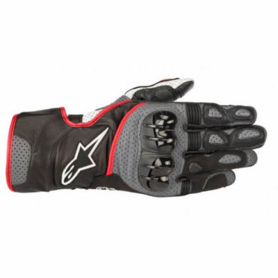 Alpinestars Sp 2 V2 Leather Black Gloves Grey Red 1