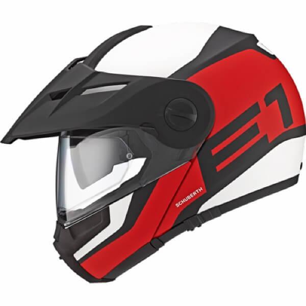 c9c71cb6 Schuberth E1 Matt White Guardian Red Flip Up Helmet | Buy Online in ...