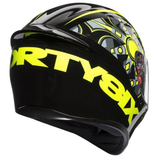 AGV K 1 Top Flavum 46 Gloss Fluorescent Yellow Black Full Face Helmet back