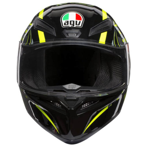 AGV K 1 Top Flavum 46 Gloss Fluorescent Yellow Black Full Face Helmet front