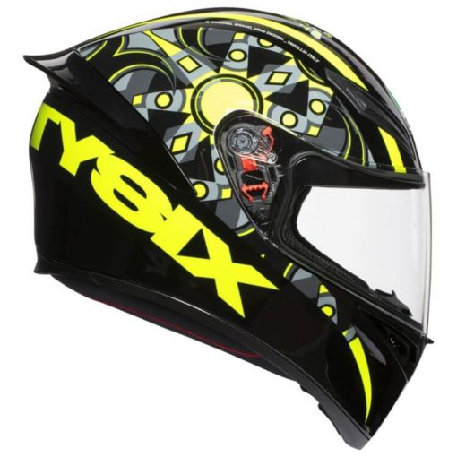 AGV K 1 Top Flavum 46 Gloss Fluorescent Yellow Black Full Face Helmet side 2