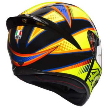 AGV K 1 Top Soleluna Gloss Fluorescent Yellow Black Full Face Helmet back
