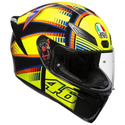 AGV K 1 Top Soleluna Gloss Fluorescent Yellow Black Full Face Helmet side