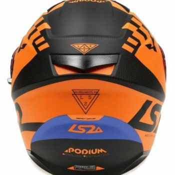 LS2 FF320 PODIUM MATT BLACK ORANGE full face helmet back
