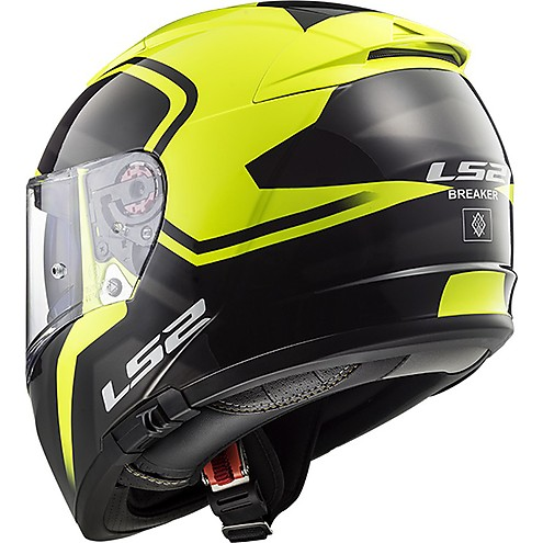 LS2 FF390 BREAKER BOLD MATT BLACK FLUORESCENT YELLOW back