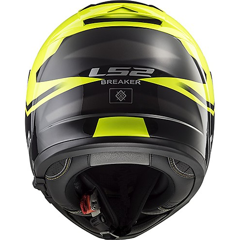 LS2 FF390 BREAKER BOLD MATT BLACK FLUORESCENT YELLOW full back
