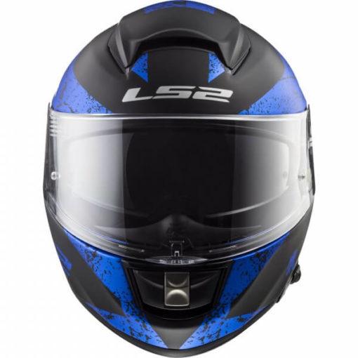 LS2 FF397 CITATION SIGN MATT BLACK BLUE full face helmet front