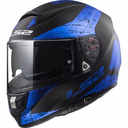LS2 FF397 CITATION SIGN MATT BLACK BLUE full face helmet side