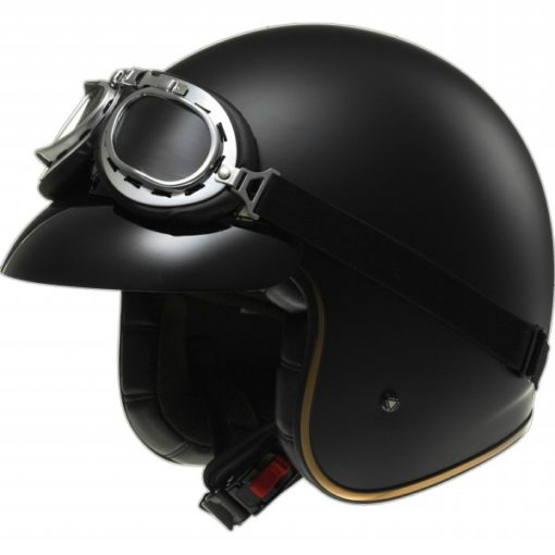 LS2 OF583 SOLID MATT BLACK OPEN FACE HELMET side