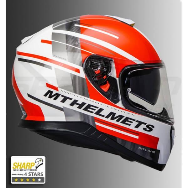 d8dd1fc6 MT Thunder 3 SV Pitlane Matt White Grey Red Full Face Helmet | Buy ...