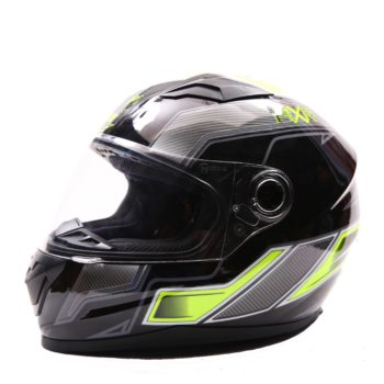 AXR 816 Carbon Gloss Black Grey Fluorescent Yellow Full Face Helmet