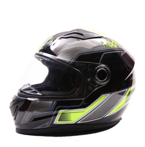 AXR 816 Carbon Gloss Black Grey Fluorescent Yellow Full Face Helmet
