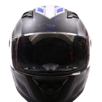 AXR 816 Carbon Matt Black Blue Grey Full Face Helmet2