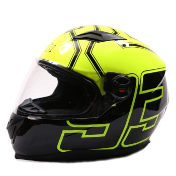 AXR 816 FLY 93 Gloss Black Fluorescent Yellow Full Face Helmet