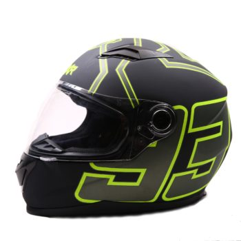 AXR 816 Matt 93 Black Fluorescent Yellow Grey Full Face Helmet
