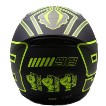 AXR 816 Matt 93 Black Fluorescent Yellow Grey Full Face Helmet1