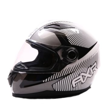 AXR 816 Spectre Gloss Black White Full Face Helmet