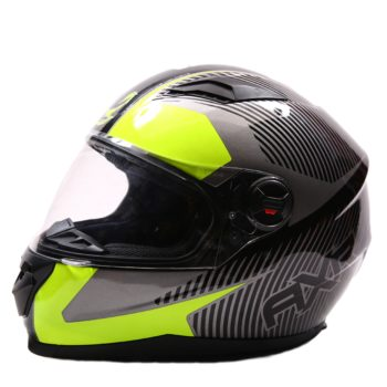 AXR 816 Spectre Gloss Grey Black Fluorescent Yellow Full Face Helmet