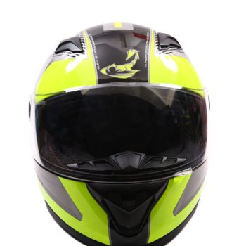 AXR 816 Spectre Gloss Grey Black Fluorescent Yellow Full Face Helmet2
