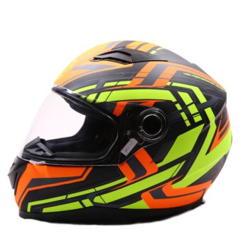 AXR 816 Super Velocity Matt Black Orange Fluorescent Yellow Full Face Helmet