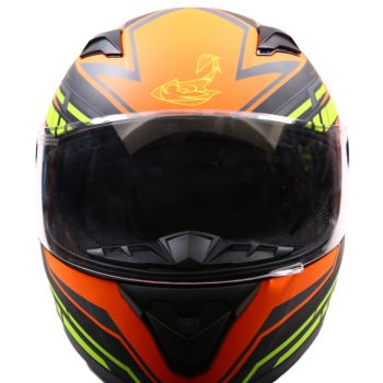 AXR 816 Super Velocity Matt Black Orange Fluorescent Yellow Full Face Helmet2