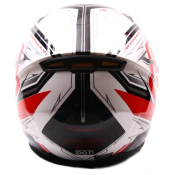 AXR 816 Velocity Gloss White Red Black Full Face Helmet1