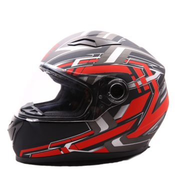 AXR 816 Velocity Matt Black Red Grey Full Face Helmet