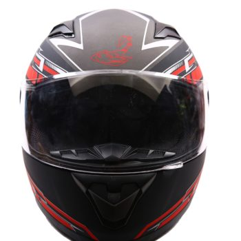 AXR 816 Velocity Matt Black Red Grey Full Face Helmet2