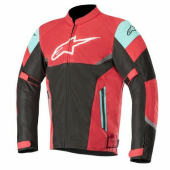 Alpinestars Axel Air Leather Burgundy Black Aqua Riding Jacket