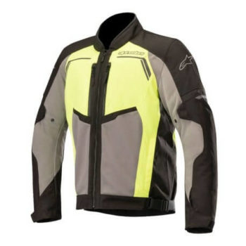 Alpinestars Durango Air Leather Black Dark Grey Fluorescent Yellow Riding Jacket