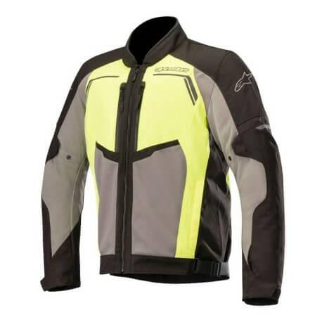 Alpinestars Durango Air Leather Black Dark Grey Fluorescent Yellow Riding Jacket