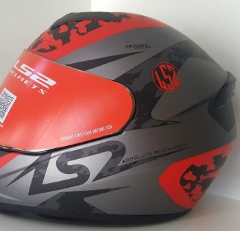 LS2 FF352 Airflow Matt Silver Red Full Face Helmet 1