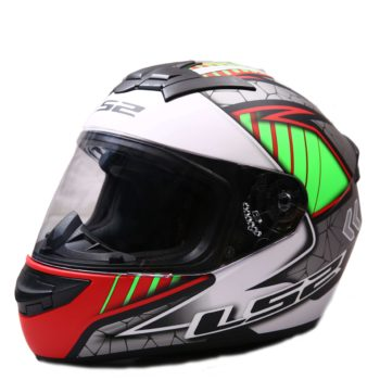 LS2 FF352 Spool Matt White Green Grey Full Face Helmet 1