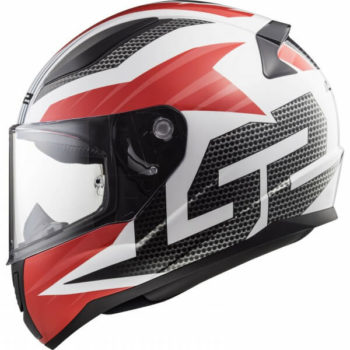 LS2 FF353 Rapid Grid Matt White Red Full Face Helmet 1