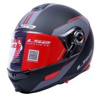 LS2 FF386 Midnight Matt Black Red Flip Up Helmet1