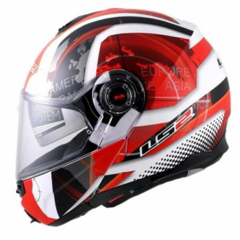 LS2 FF386 Universe Matt White White Red Flip Up Helmet1