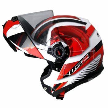 LS2 FF386 Universe Matt White White Red Flip Up Helmet2