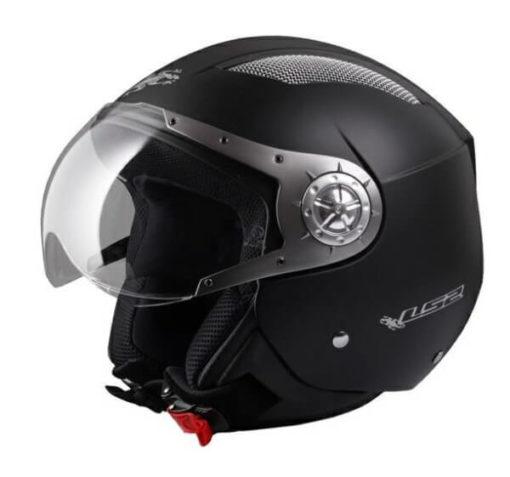LS2 OF545 Tom Cat Matt Black Open Face Helmet 1